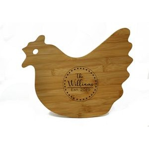 Bamboo Hen-Shaped Laser Engraved Cutting Board